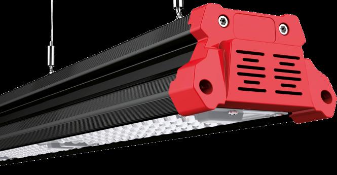 LED Linear-Hallen-Pendelleuchte mit Linsenoptik