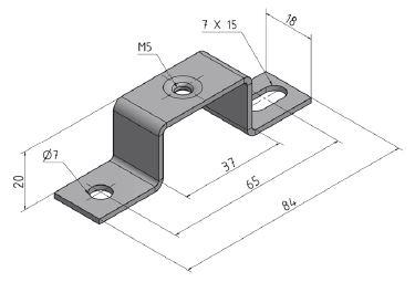 Abstandhalter, Höhe 20 mm für Hutschienen, Gewindebohrung M5