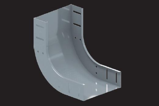 KBL-AU 90° Bögen aufwärts Radius: 100 mm, Befestigung mit 8 Schrauben M 6 x 10