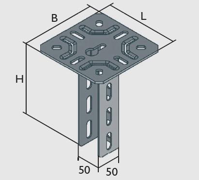 KBL-DLS Deckenstützen standard mit angeschweißter Kopfplatte 150 x 150 mm