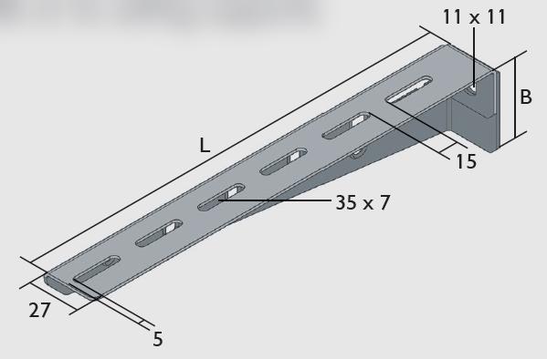 KBL-ALL Ausleger leicht für Wandbefestigung oder an Deckenstützen