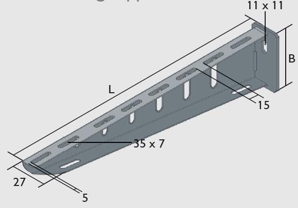 KBL-ALS Ausleger standard für Wandbefestigung oder an Deckenstützen