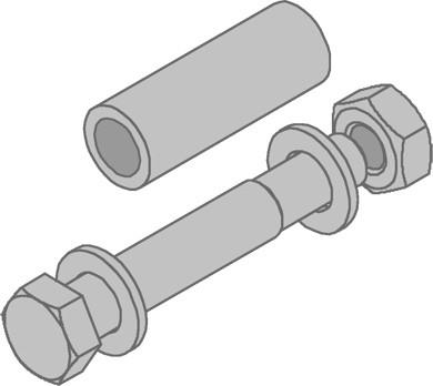 Schraubengarnitur M10x70 mit Distanzhülse Stahlblech,tvfz. VE = 50 Stck.