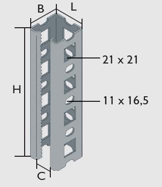 KBL-PSM Multifix Profilschienen verzahnt Offene Profilseite, Flanken eingerollt für hohe Steifigkeit, 5 mm Verzahnung, 50 mm Raster