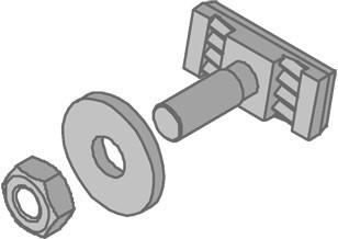 Hammerkopf-Schraubengarnitur M10, Unterlegscheibe, VE: 25 Stahl, Galvanisiert
