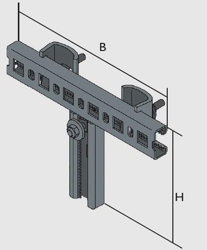 KBL-TB Befestigungsgarnituren Eine angeschweißte T-Konstruktion Multifix-Profilschiene 25 x 50, zwei Stahlkrallen mit seitlicher Abrutschsicherung, inkl. 1 abrutschsicheren, verzahnten Anker-Schraubengarnitur
