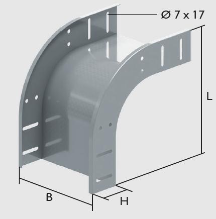 KBL-AB 90° Bögen abwärts Radius: 100 mm, Befestigung mit 8 Schrauben M 6 x 10
