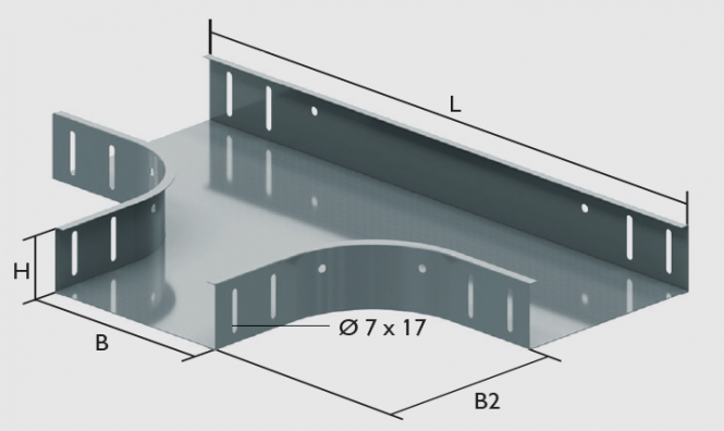 KBL-T T-Stücke Radius: 100 mm, Befestigung mit 12 Schrauben M 6 x 10