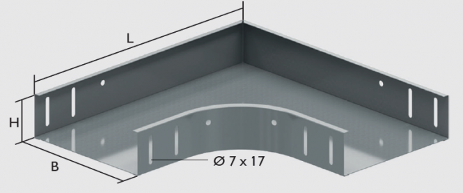 KBL-B 90° Bögen Radius: 100 mm, Befestigung mit 8 Schrauben M 6 x 10
