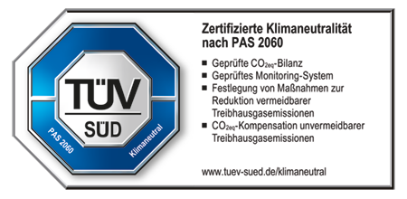 100 % Klima-neutral - TÜV zertifiziert