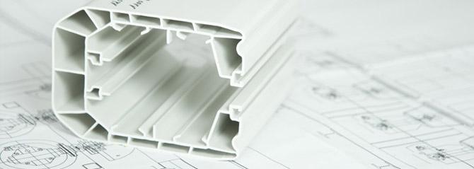 Licatec Profilextrusion - Planung. Profil mit Zeichnung im Hintergrund